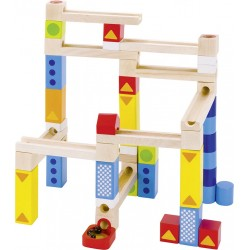 Jeu en bois 2 en 1- Toboggan à billes ET jeu de construction