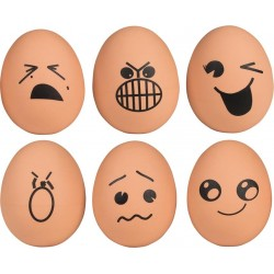 Lot de 6 Oeufs rebondissants - Dessins Smileys