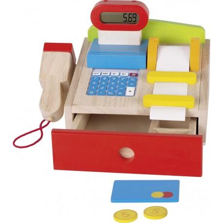 Caisse pour épicerie en bois avec vraie calculatrice