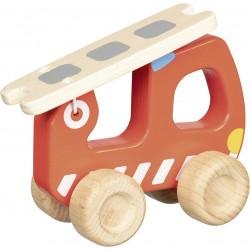 Camion de pompier avec échelle en bois