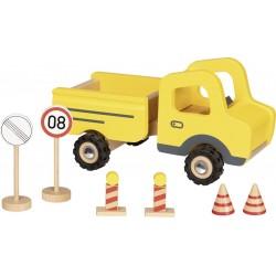 Camion de chantier en bois avec ses panneaux de signalisation