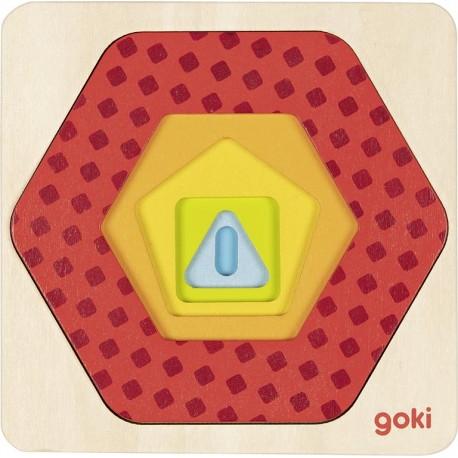 Puzzle à 5 couches en bois - Formes géométriques