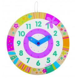 """Horloge """" Apprendre à lire l'heure"""" en bois"""