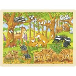 Puzzle contour en bois - Bébés animaux de la forêt