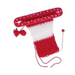 Cadre à tricoter avec aiguille en bois et fils
