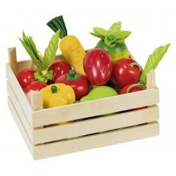Accessoires cuisine - Fruits et légumes dans une cagette en bois