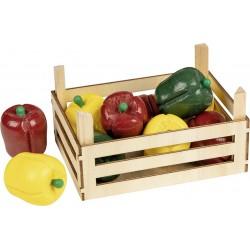 Accessoires cuisine - Poivrons dans une cagette en bois