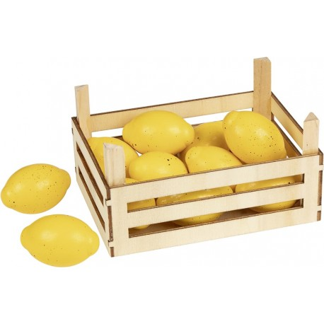 Accessoires cuisine - Citrons dans cagette en bois