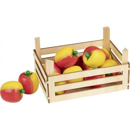 Accessoires cuisine - Pommes dans cagette en bois