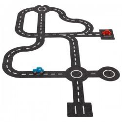 Circuit de voiture en feutrine ET 2 voitures en bois - 30 éléments