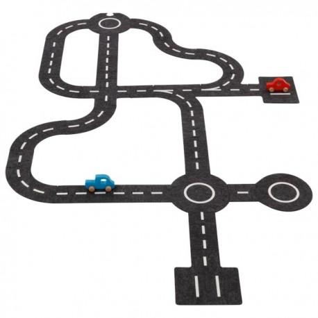 Circuit de voiture en feutrine ET 2 voitures en bois - 30 élèments