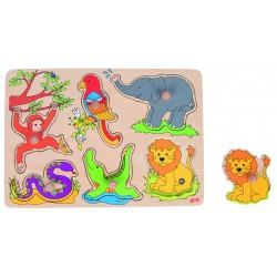 """Puzzle à encastrement """"sonore"""" - Les animaux du Zoo"""