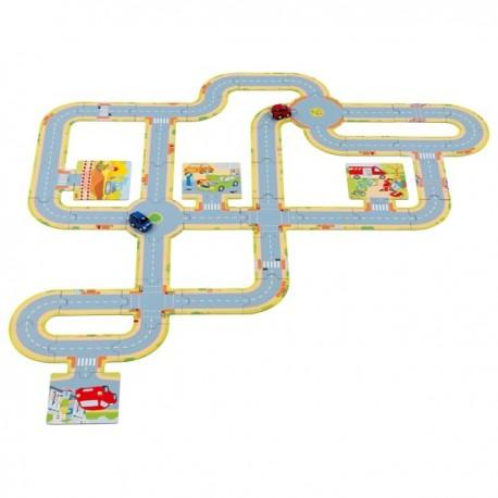 Circuit automobile en carton avec 2 voitures - 47 élèments