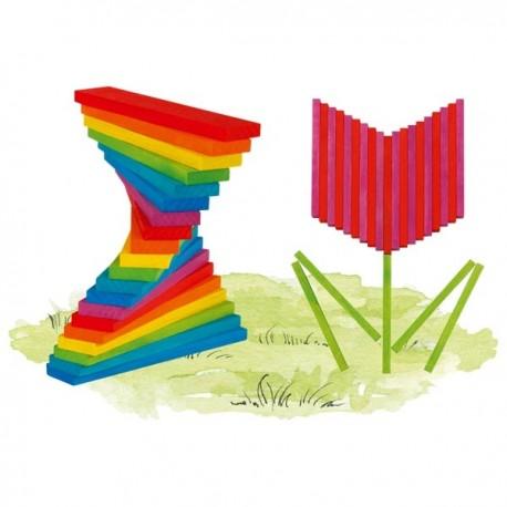 Jeu de construction en bois - Planchettes multicolores -200 élèments