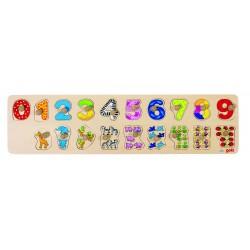 Puzzle en bois pour apprendre à compter et connaitre les animaux