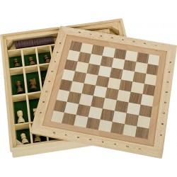 Jeux en bois 3 en 1 - Echecs, Dames, Moulin