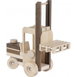 GOKI - Chariot élévateur à pousser en bois naturel