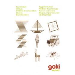 GOKI Nature - Jeu de construction en bois naturel avec modèles dès 3 ans