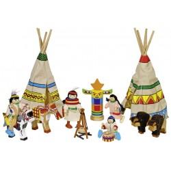 Camp d'indiens avec 4 personnages