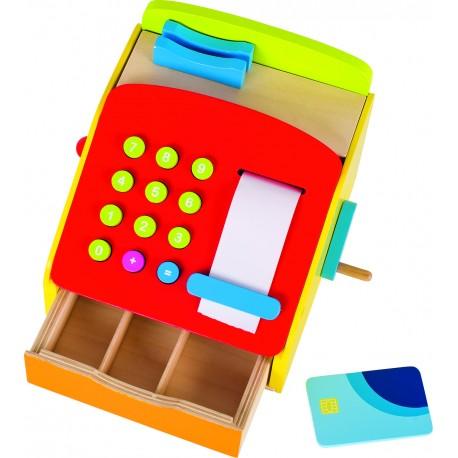 Caisse enregistreuse en bois avec manivelle et sonnerie
