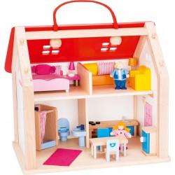 Valise maison de poupée en bois