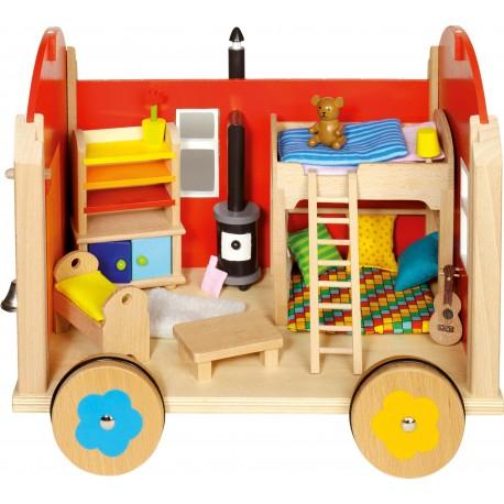 Roulotte pour poupées en bois