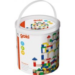 GOKI Baril de Construction - 100 pièces en bois naturel et coloré - 2 ans