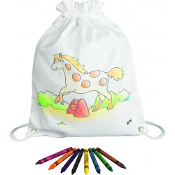 Sac à dos à peindre avec ses 8 crayons inclus - Modèle cheval