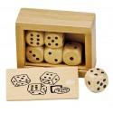 Boite de dés (6 dés en bois) 6,2x4,5x2,7 cm