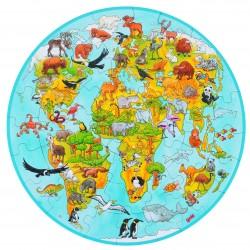 Puzzle rond en bois XXL Carte du Monde - 6 ans Ø 45 cm