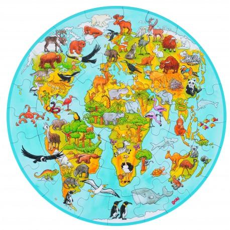 """Puzzle en bois XXL """" Le monde"""" - 6 ans"""