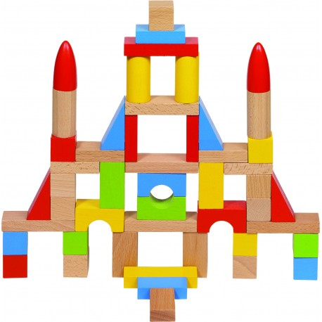 Jeu de construction en bois avec 8 formes assorties dans sac en coton ( 2 ans )