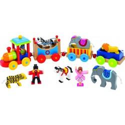 Train en bois du cirque Livorno avec figurines