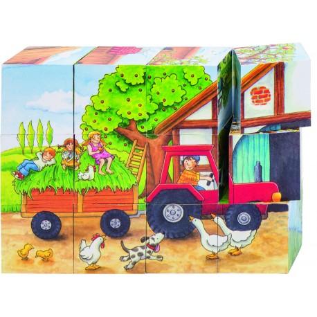 """Puzzle de cubes - """" 4 saisons à la ferme"""" - 12 cubes"""
