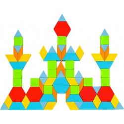 Baril de mosaïques géométriques en bois - 250 pièces