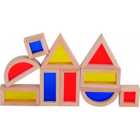 Jeu de construction en bois avec fenêtres - 21 élèments