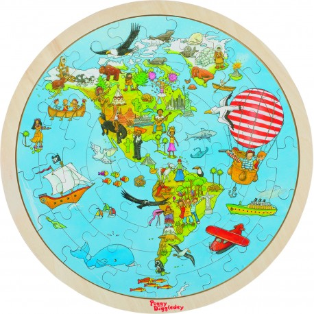 Puzzle rond double face - Tour du Monde