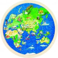 Puzzle rond double face - Globe Terrestre