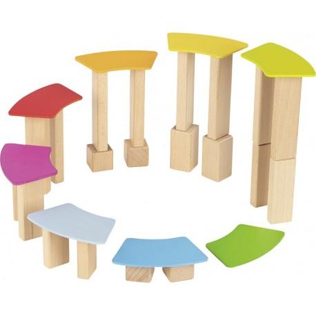 Jeu de construction en bois avec cartes en bois lasuré