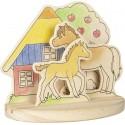 """Images en bois à colorier avec socle - """" Le club des poneys"""""""