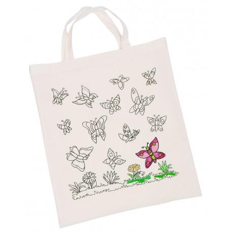 """Sac en coton à colorier- Modèle """" Papillons"""""""
