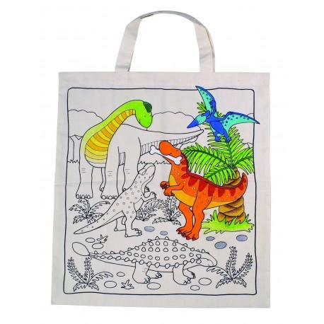 """Sac en coton à colorier- Modèle """" Dinosaures"""""""
