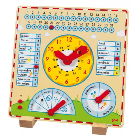 Horloge- calendrier en bois
