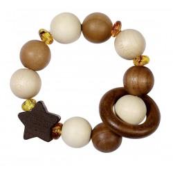 Hochet en bois naturel ET ambre Véritable flexible - 2 en 1 : Hochet ET bracelet
