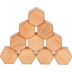 Jeu de construction en bois naturel ciré à l'huile de Noix - 75 élèments