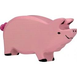 Holztiger - Cochon Tête Levée en Bois