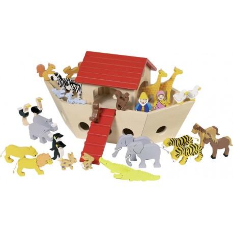 Arche de Noé en bois avec ses figurines en bois - 35 élèments