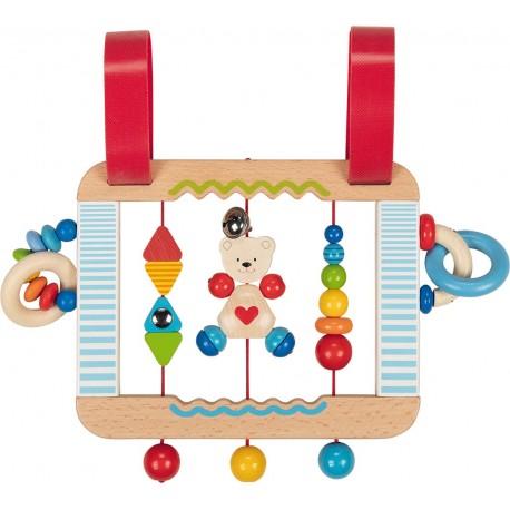 """Tableau d'activités en bois à accrocher au lit à barreaux ou au parc - Modéle """"Ourson petit coeur"""""""