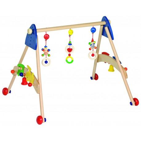 Portique d'activités en bois 3 en1 ( portique d'activités, déambulateur pour apprendre à marcher et porte manteau)