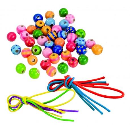 Perles en bois avec lacets